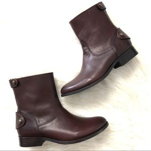 Frye Melissa redwood button zip short boots